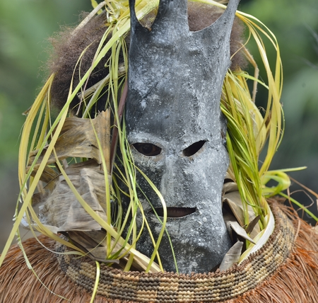 rite: Asmat people mask for the rite. Ancestors embodied in spirit mask  Jungle of New Guinea. Indonesia.