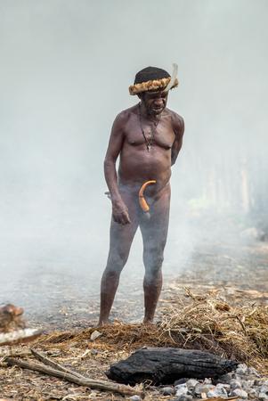 BALIEM VALLEI, WEST-PAPUA, INDONESIË, 4 JUNI, 2016: De stamdorp van Dugum Dani. Man van Dugum Dani-stam kookt voedsel, gebruikt een earthoven-methode om varkens te koken. West Papua. Nieuw-Guinea eiland Stockfoto - 94091834