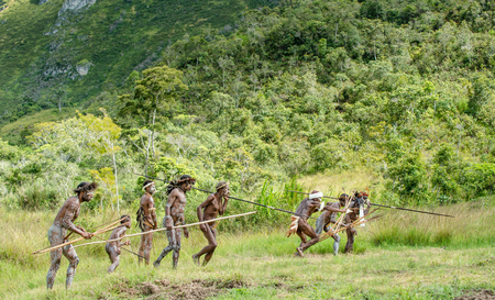 DANI VILLAGE, WAMENA, IRIAN JAYA, NEW GUINEA, INDONESIA - JUNE 4:The attack of the armed group of Papuans. Attacking Group Warriors of Dani tribe. June 4, 2016, New Guinea Island.