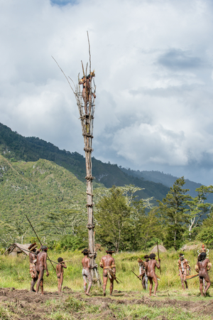 DANI VILLAGE, WAMENA, IRIAN JAYA, NEW GUINEA, INDONESIA - JUNE 4:The  armed group of Papuans. Group of Warriors of Dani Dugum tribe prepare for war. June 4, 2016, New Guinea Island.