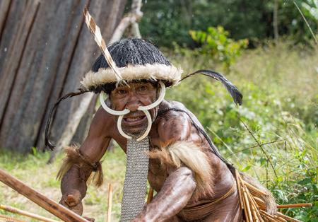 DANI VILLAGE, WAMENA, IRIAN JAYA, NEW GUINEA, INDONESIA - JUNE 4: The  armed Papuan attakking. Warrior of Dani Dugum tribe . June 4, 2016, New Guinea Island. 報道画像