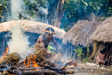 BALIEM VALLEY, WEST PAPUA, INDONESIA, MAY 16th, 2016: Dugum Dani tribe village. Unidentified man of Dugum Dani tribe cook food uses an earth oven method of cooking pig. 16, May 2016. West Indonesia.