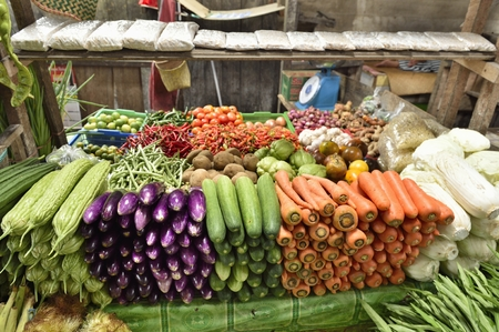 Vegetables in the market at Timika, West Papua (Irian Jaya), Indonesia.