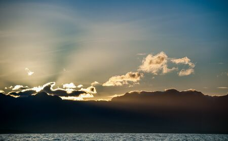 Twilight before sunrise in False bay .  Ocean and mountains Landscape