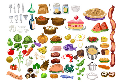 Hand-painted wind vector material food Ilustracja