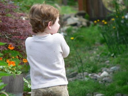 boy standing, back view Stock Photo