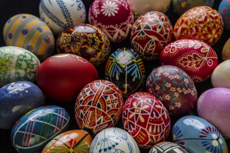 Hand-painted colorful Easter eggs