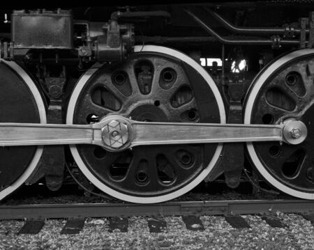 B   W image of Union Pacific historical steam engine 844 at whistle stop in Colorado Springs, CO