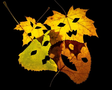 Four Jack-O-Lantern cut out leaves lay overlapping on a black background.