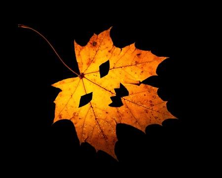A single orange maple leaf with Jack-O-Lantern cutouts site on black background.