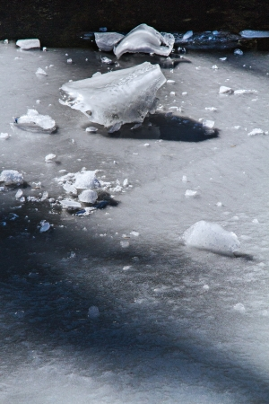 risky situation: Frozen pond with cracks, bubbles, rocks and ice creating a network of textures and lines