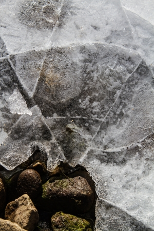 Frozen pond with cracks, bubbles, rocks and ice creating a network of textures and lines  Stock Photo - 16540939