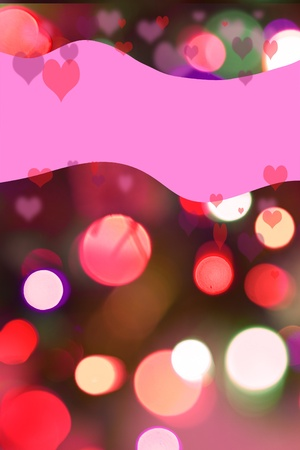 whimsey: Pink, magenta and red bokeh lights in background with pink swath on top for copy