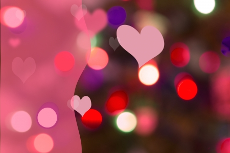 Pink, magenta and red bokeh lights in background with pink swath on left for copy  Stock Photo