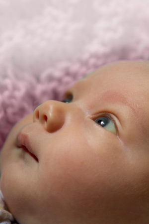 whimsey: Baby looking upward on pink background  Stock Photo