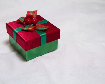 Little red and green Christmas gift resting on soft white background with copy space Stock Photo - 17101660