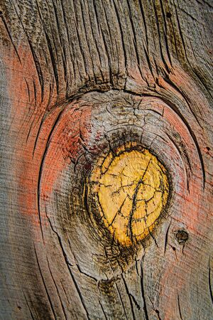 Weathered barn wood shows worn red paint and large knot hole with grain. Stock Photo