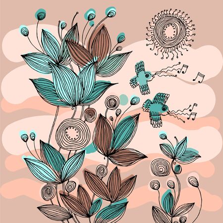 Decorative flowers and birds
