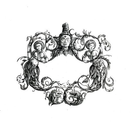 Decorative borders drawn in ink on a white background