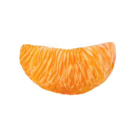 A slice of juicy ripe mandarin. Mandarin isolated on white background.