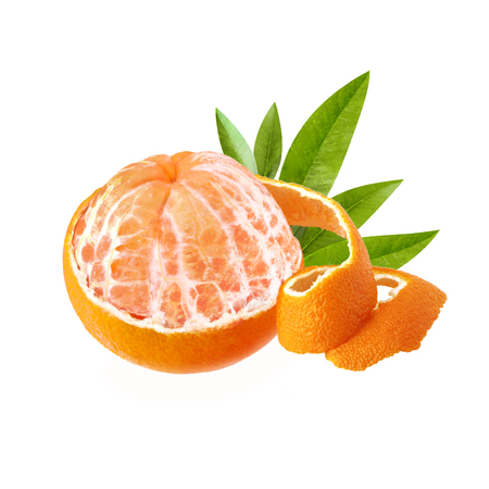 One peeled ripe and juicy mandarin. Mandarin with green leaves with a beautiful skin. Mandarin isolated on white background. Stock Photo
