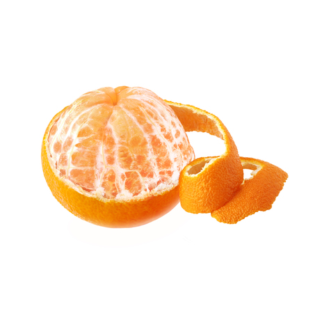 A ripe and juicy tangerine with purified beautiful peel. Mandarin isolated on white background.