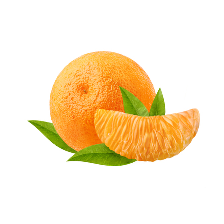 A ripe tangerine and a slice of citrus with green leaves isolated on white background Stock Photo