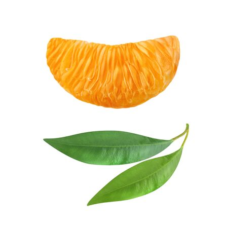 One slice of a ripe tangerine and two green leaf citrus isolated on white background.