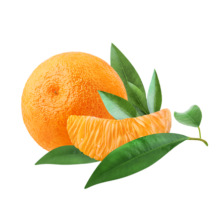 A ripe tangerine and a slice of citrus with green leaves isolated on white background. Stock Photo