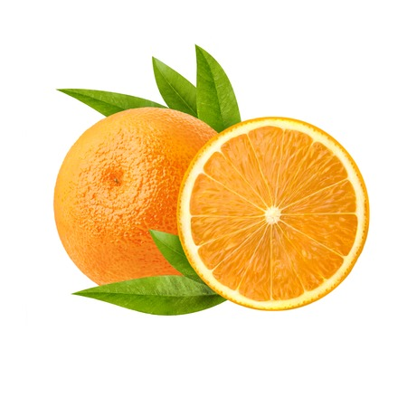 Beautiful juicy orange. Cut a slice of orange with a ripe and fresh pulp. Stock Photo