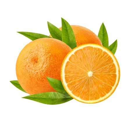 Two ripe juicy orange and its half isolated on white backgroundThree ripe juicy orange