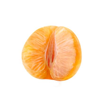 Juicy ripe citrus half. Mandarin without peel.