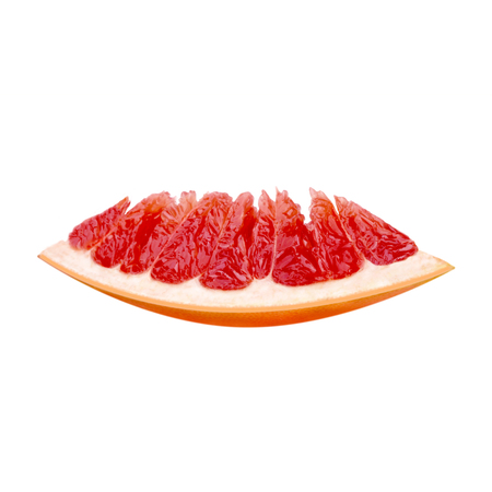 One slice of a fresh ripe red grapefruit.