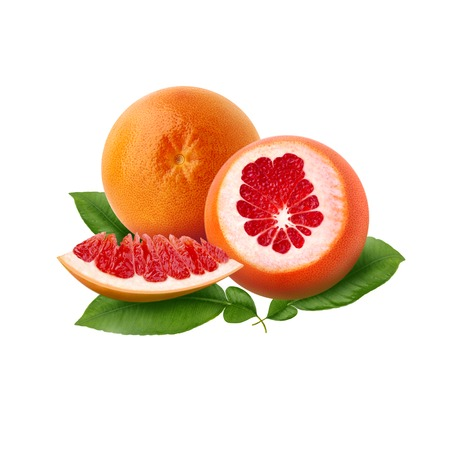 Fresh ripe red grapefruit with green leaves. Red sliced citrus isolated.
