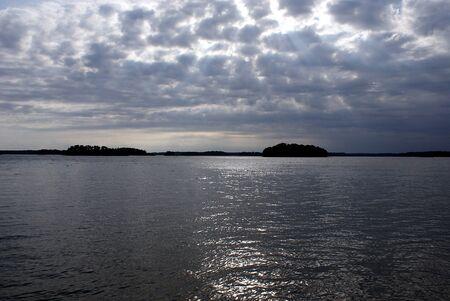 filtering: Calm sea in filtering sunlight