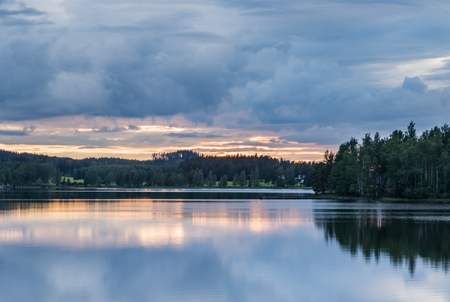 Summer evening by a lake Stock Photo