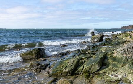 Big rocks, waves and seashore