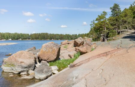 Rocky sea shore landscape views by Baltic Sea Stock Photo