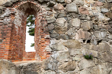 Inside medieval church ruins Stock Photo