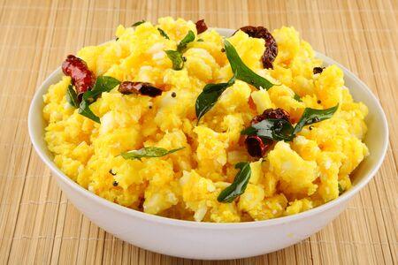 Homemade Kerala cuisine- tapioca ,cassava in traditional style.