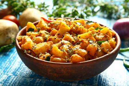 Homemade Indian potato curry dish- aloo jeera