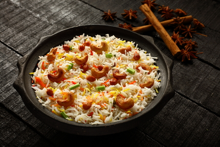 Delicious Indian vegan food- biriyani, biryani