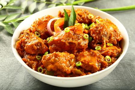 Carne asada casera al curry, cocina india. Foto de archivo