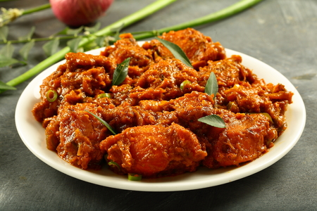Plate of homemade chicken roast curry