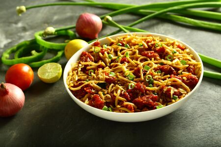 Indian street  foods- bowl of chicken pasta noodles