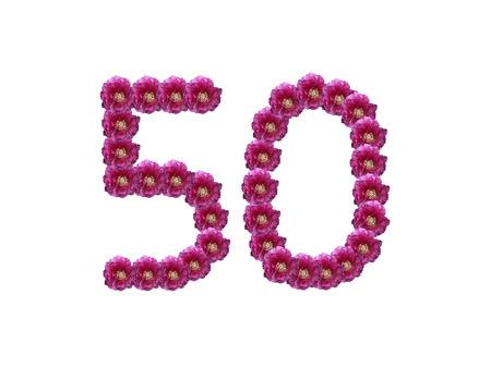 number 50: N�mero 50, composici�n de flores de color rosa Paeony recorte, aislado en fondo blanco Foto de archivo