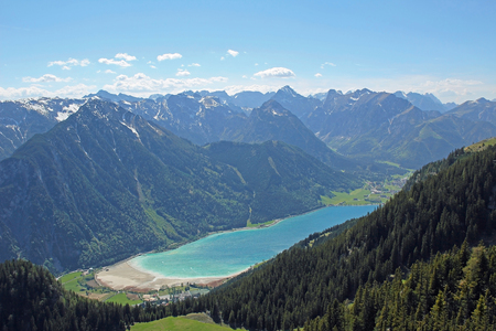 Beautiful view from above to lake achensee, austrian\ landscape