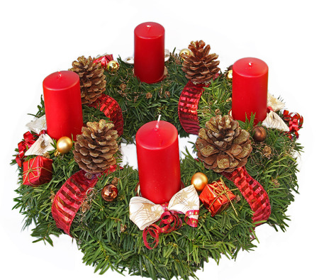 handmade advent wreath with red ribbon and golden glittering cones, isolated on white