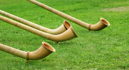 Alphorns, traditional folkmusic instrument - switzerland, on green grass