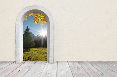 plastering: Back to nature, room with wooden rustic floor and beige colored wall with plastering, open gate with view to beautiful landscape